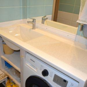 Столешница с раковиной для ванной комнаты из искусственного камня